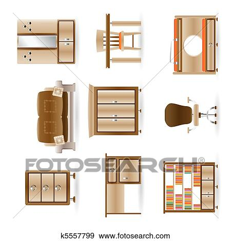 clip of home and office furniture k5557799 search clipart illustration posters drawings