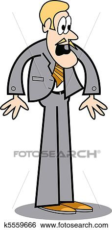 Clip Art of Business man with surprised look k5559666 - Search ...