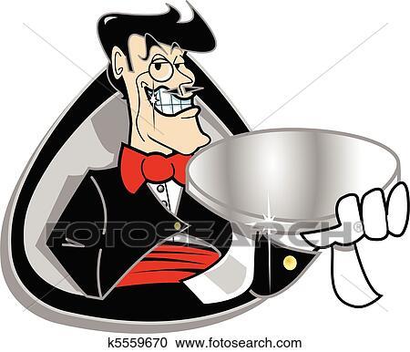 Clipart of Butler servant holding silver tray k5559670 ... Butler Servant Clipart