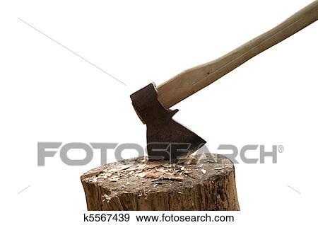 Banque de photographies hache et b che k5567439 recherchez des photos des images des - Hache fendeuse de buche ...