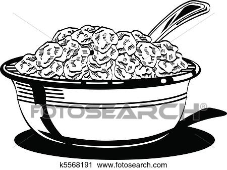 Clipart of Cereal bowl with milk and spoon. k5568191 ...