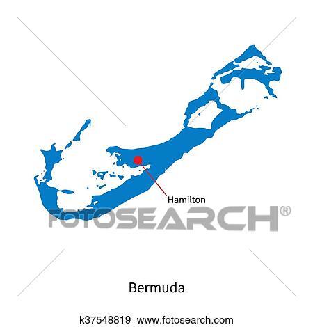 Clip Art of Detailed vector map of Bermuda and capital city Hamilton