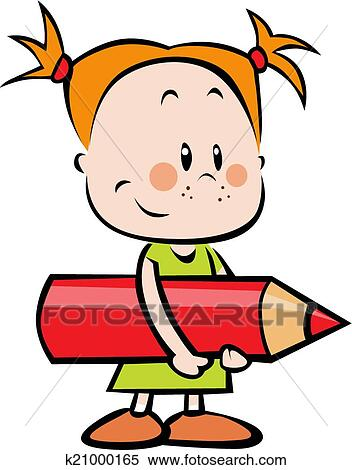 clipart of illustration of child with pencil little girl hold red rh fotosearch com Crayon Clip Art Crayon Clip Art