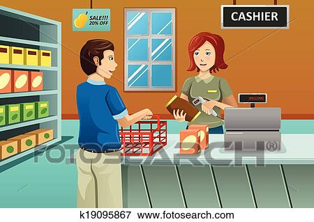 Clip Art of Cashier working in the grocery store k19095867 ...