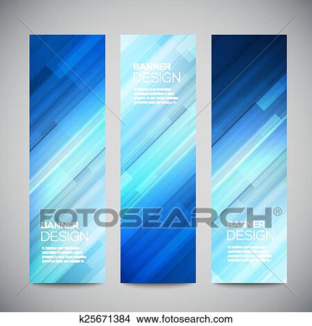 Clipart of Blue low poly vector vertical banners set with ...
