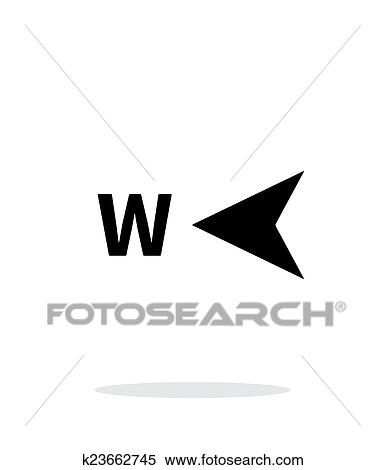 Clipart Of West Direction Compass Icon On White Background