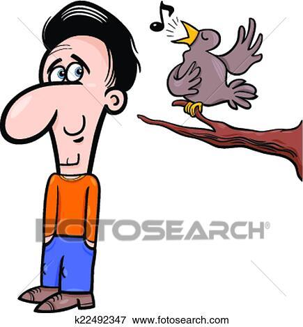 剪贴画 - 人, 同时,, 鸟, 卡通漫画, 描述.图片