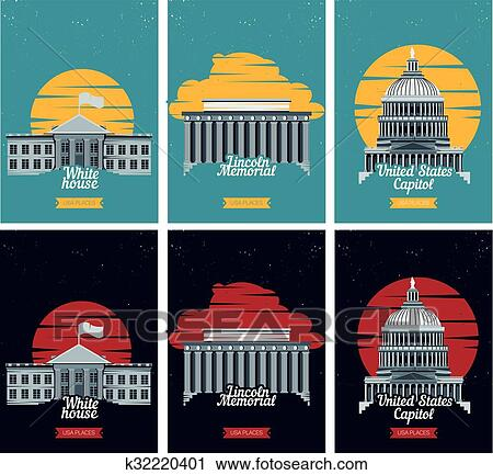 Clipart Of Usa Tourist Destination Posters Vector Illustration With