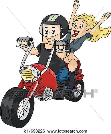 Clipart motard couple k17693226 recherchez des - Image drole de motard ...