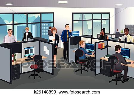 Clip Art of People working in the office k25148899 ...
