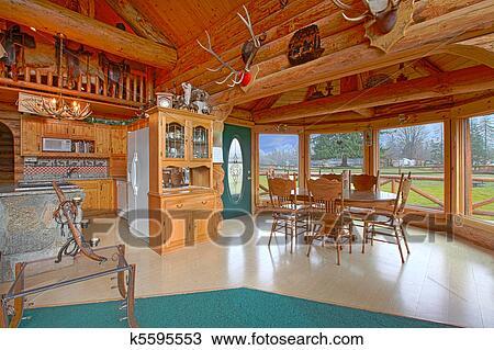Stock Foto   Rustikal, Blockhaus, Auf, Dass, Pferd, Bauernhof, Esszimmer