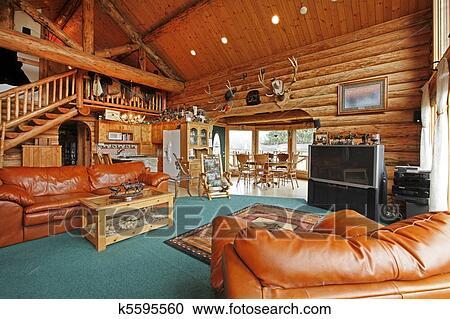stock fotografie gro wohnzimmer von dass blockhaus mit cowboy stil k5595560 suche. Black Bedroom Furniture Sets. Home Design Ideas