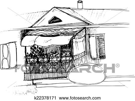 Black And White Sketch Of A House Roof And Balcony
