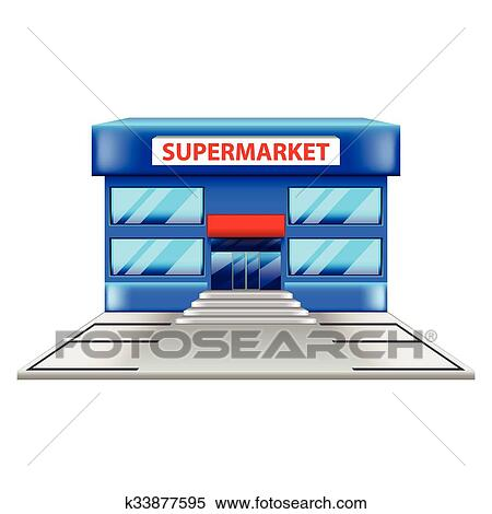 Supermarkt gebäude clipart  Clipart - supermarkt, gebäude, freigestellt, weiß, vektor ...