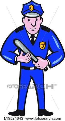 clipart of policeman with night stick baton standing k19524643 rh fotosearch com policeman clipart black and white policeman clipart black and white