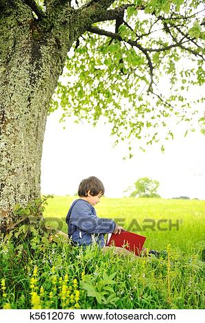Stock Images of Happy children reading the book under the ...
