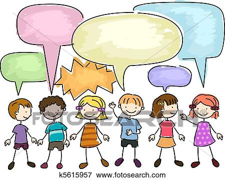 Stock Illustration of Kids Talking k5615957 - Search EPS Clipart ...