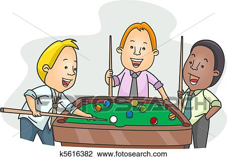 Clip Art of Men Playing Billiards After Work k5616382 ...