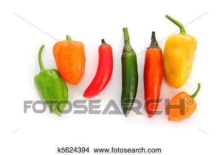Stock Foto - chili, habanero, serrano, warme, mexicaanse ...