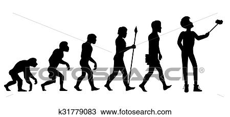Clipart of Human Evolution from Ape to Man k31779083 - Search Clip ...