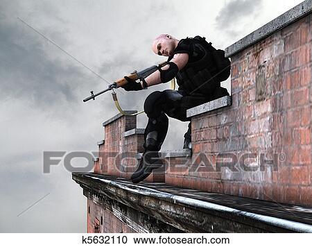 イラストギャラリー - 特殊部隊, 軍隊, 狙撃兵 k5632110 - クリップ ...
