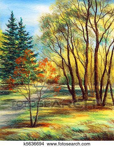 手绘图 - 风景, 森林