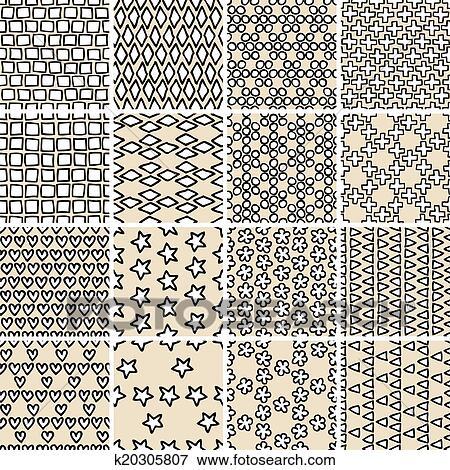 clip art einfach gekritzel seamless muster satz in schwarz wei k20305807 suche. Black Bedroom Furniture Sets. Home Design Ideas