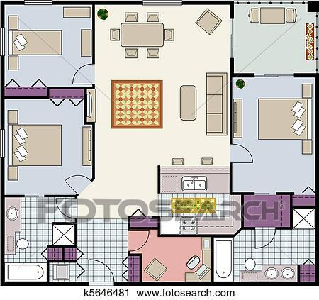 Plan Clipart Clipart Floor Plan of