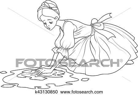 Clipart of sad cinderella wash the floor k43130850 search clip clipart sad cinderella wash the floor fotosearch search clip art illustration murals voltagebd Gallery