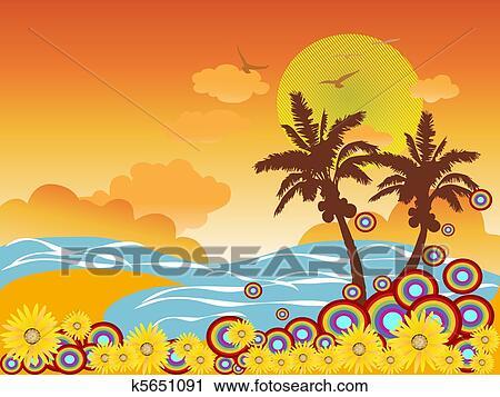 Clipart palmier vacances plage k5651091 recherchez des clip arts des illustrations des - Palmier clipart ...