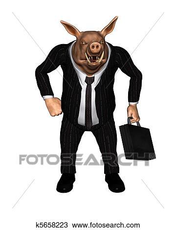 Dessin f ch cochon habill comme homme affaires 2 - Dessin cochon debout ...