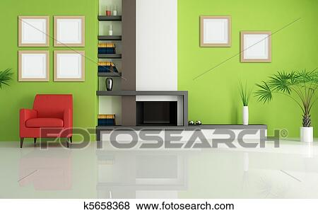 스톡 일러스트 - 녹색, 거실, 와, 현대, 벽난로 k5658368 - EPS 클립 ...