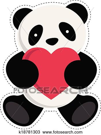 Clipart Of Panda Holding Heart K18781303 Search Clip