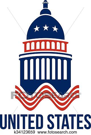 clip art of united states capitol building logo in red white and rh fotosearch com us capitol building clipart