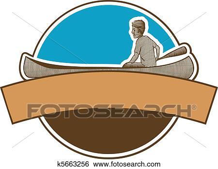 Clip Art Of Canoeing Label K5663256