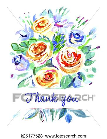 Clip Art of Vector card with a bouquet of flowers. Thank ...