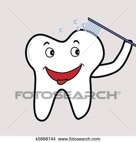 剪贴画 - 刷, 牙齿