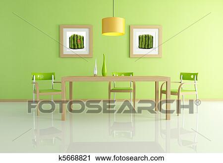 clipart - modernes, grün, esszimmer k5668821 - suche clip art, Esszimmer dekoo