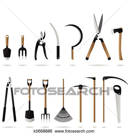 Clip art of gardening tools set k5668886 search clipart for Gardening tools clipart