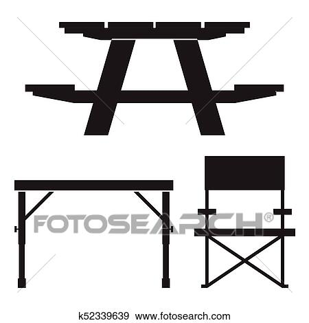 clip art of camping and picnic table icons k52339639 search rh fotosearch com picnic table with umbrella clipart picnic tablecloth clipart