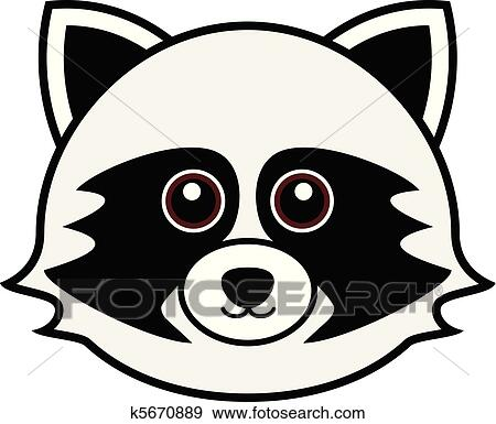Clip Art of Cute Raccoon Vector k5670889 - Search Clipart ... Raccoon Face Clip Art Black And White