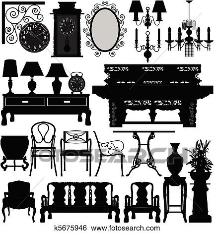 Clip Art   Antique Old Furniture Home House. Fotosearch   Search Clipart,  Illustration Posters