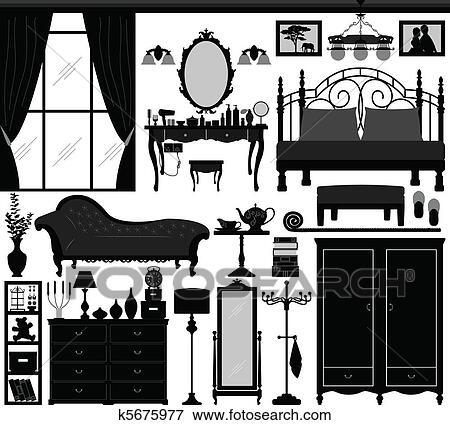 클립아트 - 침실, 가정의 실내, 디자인, 세트 k5675977 - 클립아트 ...