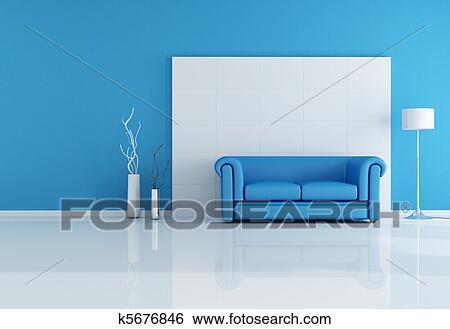 Banque d 39 illustrations blanc bleu salle de s jour for Salle de sejour bleu