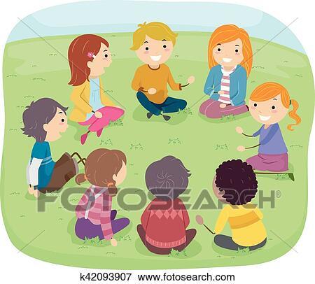 Kinder sitzen im kreis clipart  Clip Art - Stickman, kinder, draußen, gespräch, kreis k42093907 ...