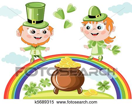 Clipart of Leprechauns with a gold pot k5689315 - Search Clip Art ...