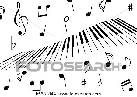 Clipart of music notes and piano keys k5681844 search for Note musicali dwg