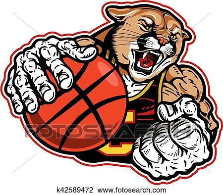 clipart of cougar basketball k42589472 search clip art rh fotosearch com cougar clip art templates cougar clipart black and white