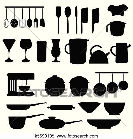 Clipart of kitchen utensils and tools k5690105 search - Utensilios de chef ...