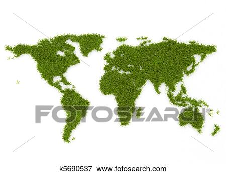 Stock illustration of world map green grass k5690537 for Environmental graphics giant world map wall mural